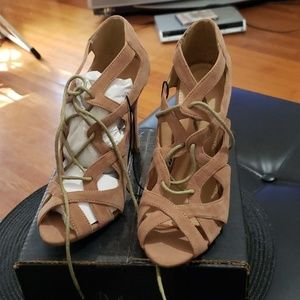 Tan suede sandals size 6